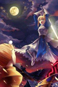 Fate-Zero.Saber (Arturia Pendragon).Archer (Gilgamesh).640x960