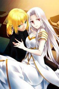 Fate-Zero.Saber (Arturia Pendragon).Irisviel von Einzbern.320x480