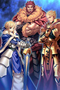 Fate-Zero.Saber (Arturia Pendragon).Rider (Iskander).Archer (Gilgamesh).640x960