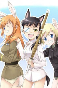 Strike Witches.Mio Sakamoto.Erica Hartmann.Charlotte E. Yeager.320x480