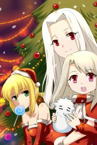 Christmas anime wallpaper.Fate Zero LG C550 Optimus wallpaper.320x480