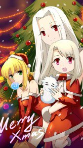 Christmas anime wallpaper.Fate Zero Nokia 5228 wallpaper.360x640