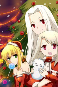 Christmas anime wallpaper.Fate Zero iPhone 4 wallpaper.640x960