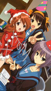 Christmas anime wallpaper.Haruhi Suzumiya Nokia 5800 wallpaper.360x640