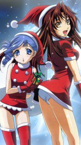 Christmas anime wallpaper.Kiddy Grade Nokia N97 wallpaper.360x640