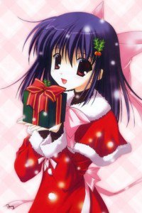 Christmas anime wallpaper.LG P500 Optimus One wallpaper.320x480 (1)