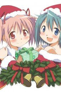 Christmas anime wallpaper.Madoka iPhone 4 wallpaper.640x960