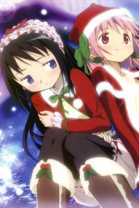 Christmas anime wallpaper.Madoka iPhone 4 wallpaper.Homura Akemi.640x960