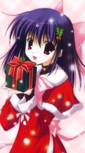 Christmas anime wallpaper.Nokia 5250 wallpaper.360x640
