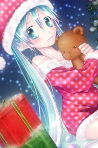 Christmas anime wallpaper.Sony ST23i Xperia wallpaper.320x480