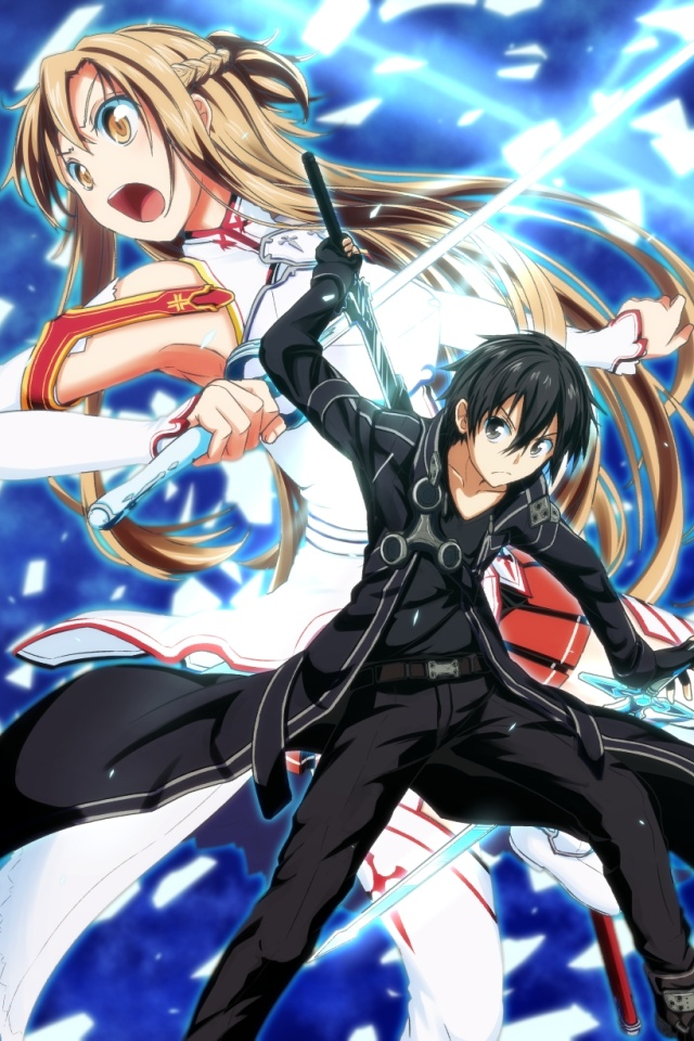 Art online kirito iphone 4 wallpaper asuna 640 960 2 sword art