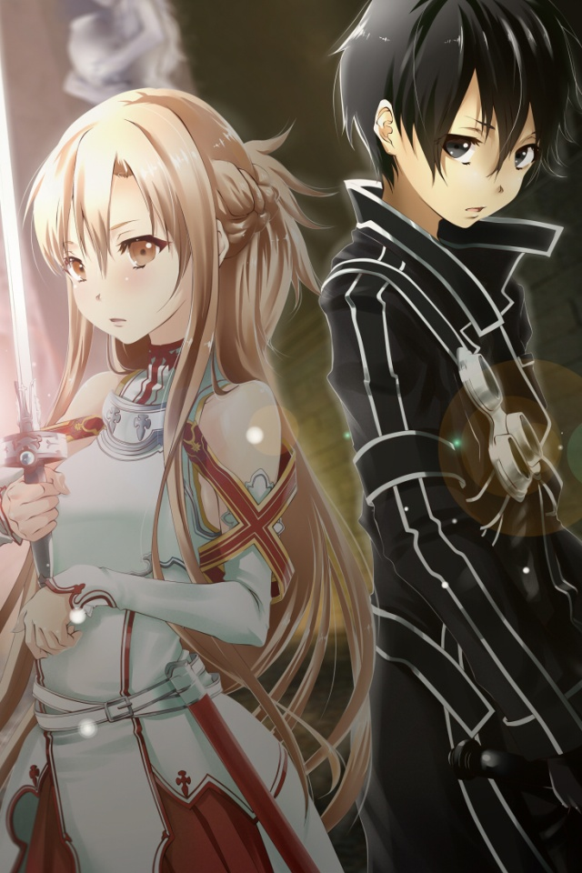 Sword Art OnlineKiritoAsuna IPhone 4 Wallpaper640x960 1