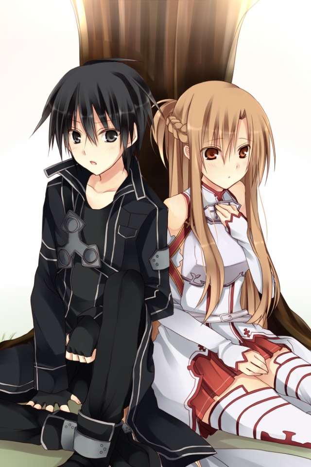 Sword Art OnlineKiritoAsuna IPhone 4 Wallpaper640x960 2
