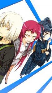 Hataraku Maou-sama.Emi Yusa (Emilia Justina) HTC One X wallpaper.Shiro Ashiya (Alciel).Suzuno Kamazuki (Crestia Bell).720x1280