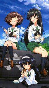 Girls und Panzer.Hana Isuzu Lenovo K800 wallpaper.Yukari Akiyama.Mako Reizei.720x1280