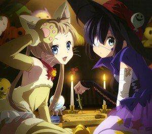 Halloween 2014 anime.Chuunibyou demo Koi ga Shitai Series Sanae Dekomori Character Rikka Takanashi Android wallpaper.2160x1920