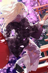 Hanayamata Hana N. Fountainstand.iPhone 4 wallpaper 640x960