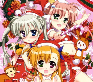 Christmas 2015 anime Nanoha Android wallpaper 2160x1920