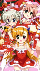 Christmas 2015 anime Nanoha.Samsung Galaxy Note 3 wallpaper 1080x1920