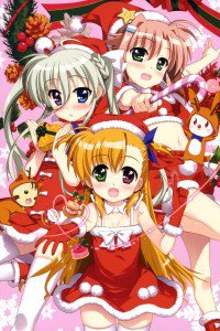 Christmas 2015 anime Nanoha.iPod 4 wallpaper 640x960