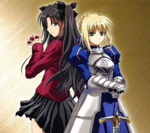 Fate Stay Night Unlimited Blade Works Rin Tohsaka Saber.Android wallpaper 2160x1920