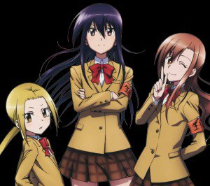 Seitokai Yakuindomo Shino Amakusa Aria Shichijou and Suzu Hagimura android wallpaper
