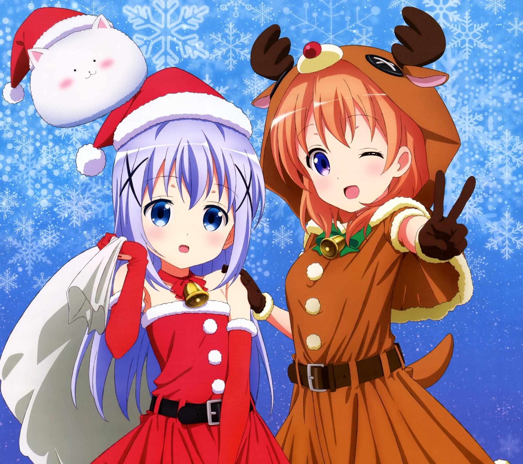 Christmas Anime  Gochumon Wa Usagi Desu Ka Cocoa Hoto Chino Kafu Android Wallpaper X