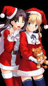 Rin Tohsaka and Saber Christmas 720x1280